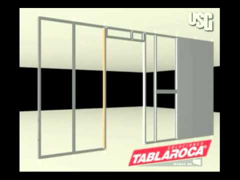 Tablaroca instalar muros de tablaroca youtube for Lamparas y plafones de pared