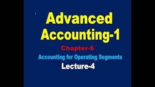 Accounting for Operating segments// Advanced Accounting-1// Operating segments Class-2(Lecture-4)