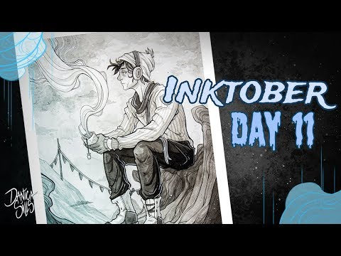 Inktober Day 11 • Base Camp •  Inkwash Painting