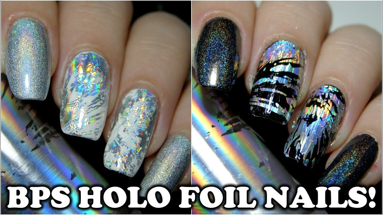HOLOGRAPHIC FOIL NAILS! 🌈 Easy nail art tutorial ✨ Born Pretty ...