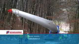 SCHEUERLE InterCombi SP with wind blade adapter transporting an Enercon wind blade in the forest