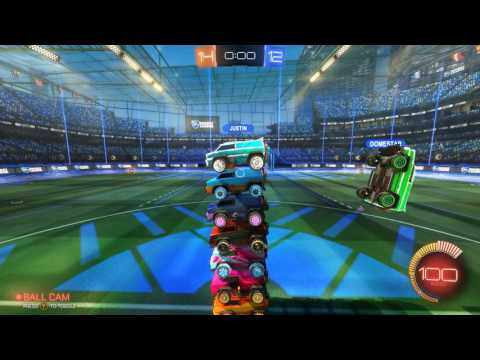 Rocket League Cars Stacked World Record (8 Mercs, Normal Gravity)