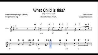 What child is this Greensleeves Notes Sheet Music for Violin Flute Recorder Oboe