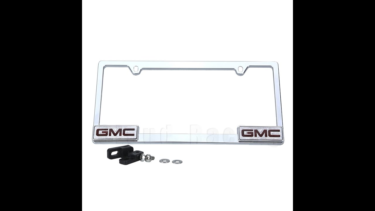 ebaysellercloud racinggmc 3d logo license plate frame mirror chrome metal fits all model of gmc