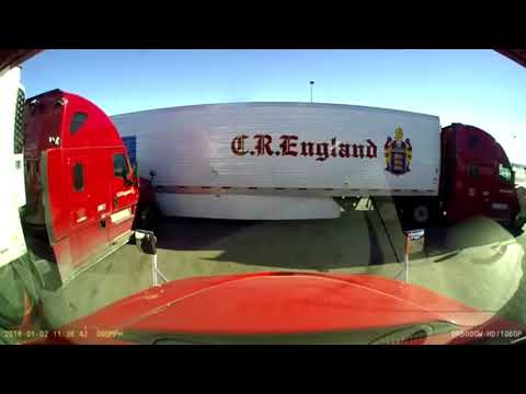 Two CR England Semi Trucks Collide At Love's Truck Stop