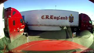 Two CR England Semi Trucks Collide At Loves Truck Stop
