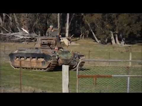 Restored Matilda Infantry Tank Operating Across Country