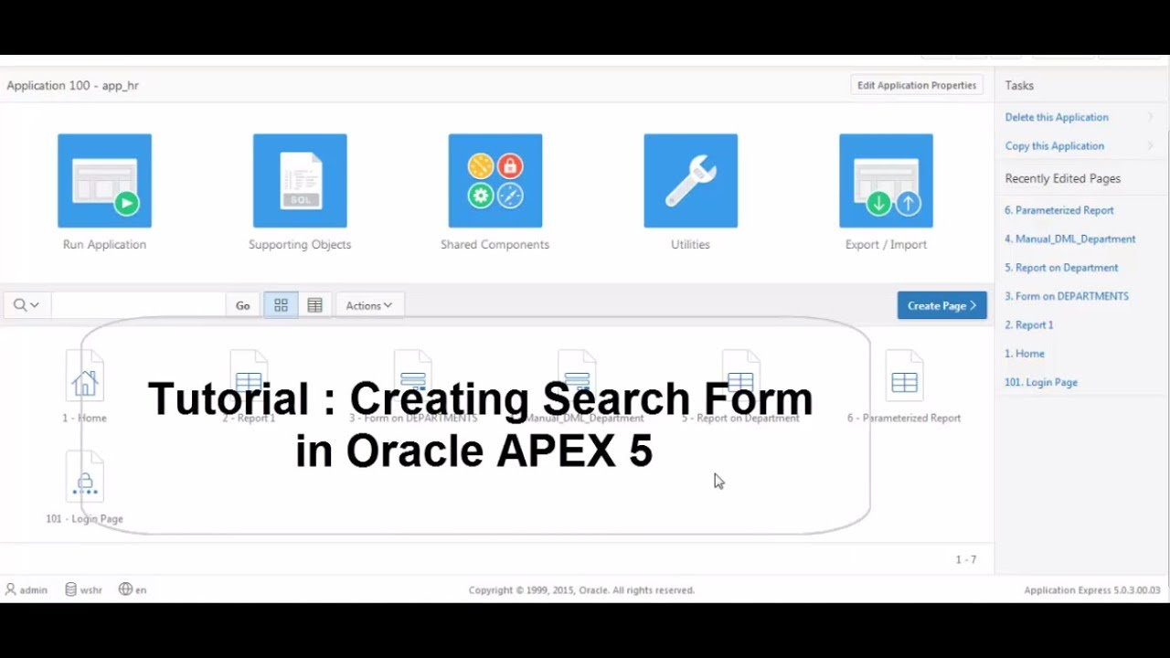 Tutorial : Creating a Search form in Oracle Apex 5