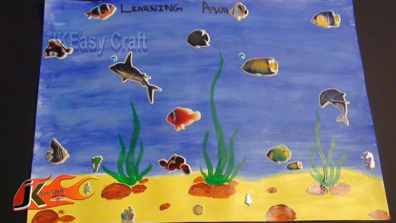 Draw Under Water Scene School Project For Kids Jk Easy Craft 014