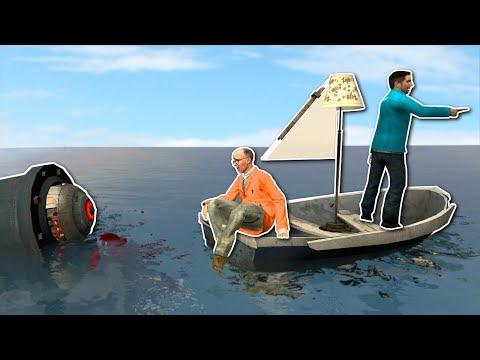 BUILDING A BOAT AGAINST ROBOT SHARK!? - Garry's Mod Gameplay - Gmod Sandbox Boat Building