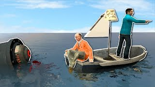 One of SpyCakes's most viewed videos: BUILDING A BOAT AGAINST ROBOT SHARK!? - Garry's Mod Gameplay - Gmod Sandbox Boat Building