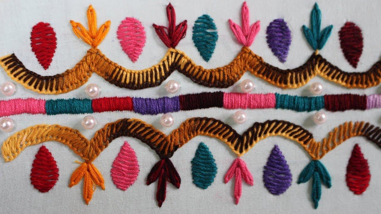 Hand Embroidery Designs Pearl Border Stitch Design Stitch And