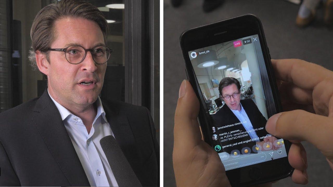 Minister Andreas Scheuer erklärt seine Kommunikation: Neuigkeiten-Zimmer und Instagram Live