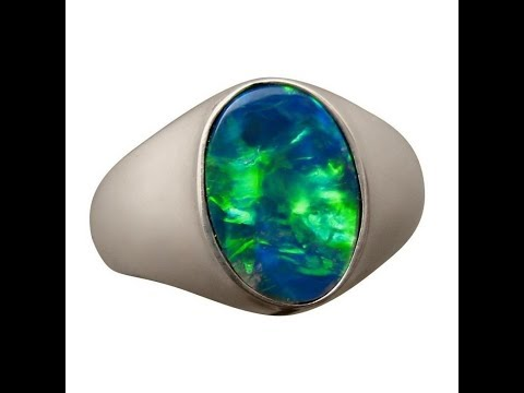 Mens Opal Ring 925 Sterling Silver or Gold Blue Green oval stone