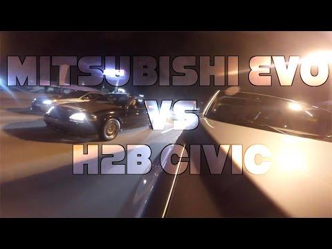 Mitsubishi Evo Vs H2b Swapped Civic Hatch
