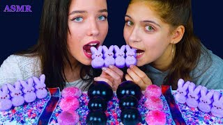 ASMR GALAXY KYOHO JELLY, EDIBLE GEODE CRYSTAL, MOCHI, PEEPS, FRUIT BY THE FOOT EATING SOUNDS