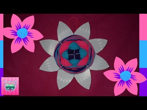 How to make a yarn woven paper plate flower