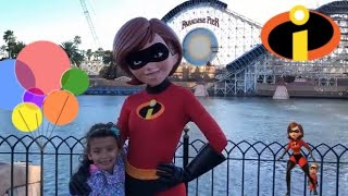 Pixar Fest talking with Mrs. Incredible about Pixar Fest and attractions. The Incredibles 2