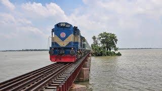Furious Maitree Express Bangladeshi Rake passing Bounjan Rail Bridge, Dilpashar- Bangladesh Railway