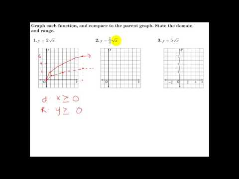 Glencoe Algebra 1 - 10 1 - Graphing Square Root Functions