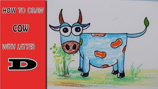 How To Draw Cow with letter D