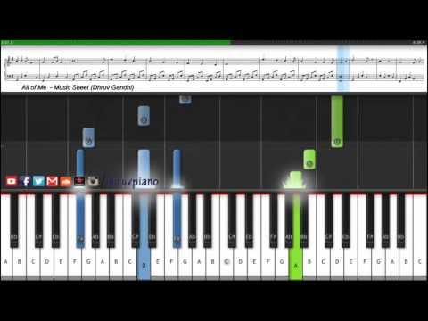 All Of Me John Legend  Piano Tutorial + Music Sheet + MIDI with Lyrics