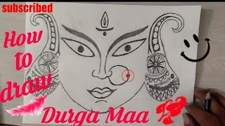 How to draw GODDESS DURGA FACE step by step for kids || Maa Durga Face sketch || drawing tutorial ||
