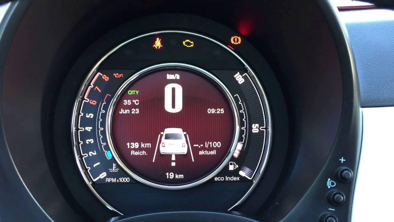 Fiat 500 Lounge 1 2 8v 69ps 7 Quot Tft Digital Tacho Youtube
