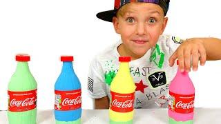 동기 부여 모래로 무지개 병 만들기 making color soda bottle with sand Mark and Toys   창조적 이
