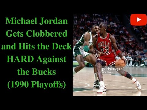 Michael Jordan Gets Clobbered and Hits the Floor HARD (1990 Playoffs)