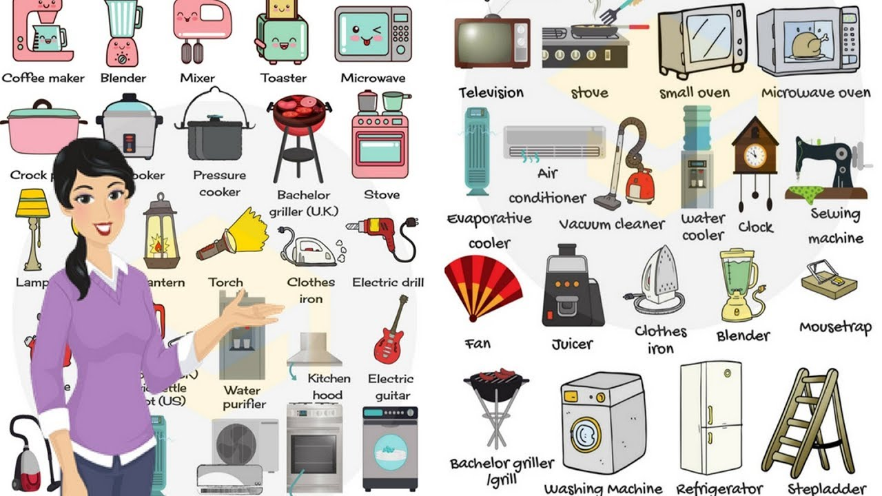Household Appliances And Equipment Vocabulary In English Home Objects For Kids Youtube