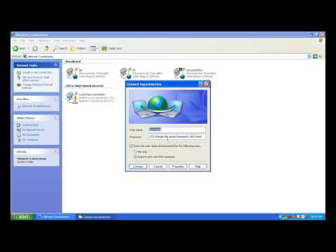 How to create a broadband dialup connection in windows XP
