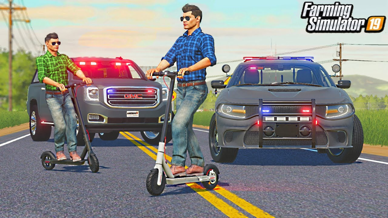 ELECTRIC SCOOTERS TROLL COPS (HIGHWAY CHASE)   (ROLEPLAY) FARMING SIMULATOR 2019