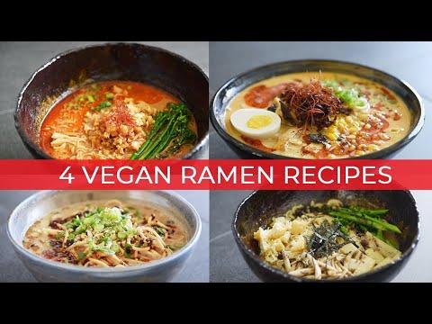 VEGAN RAMEN RECIPES | SPICY TAN TAN | COCONUT CHILI | PEANUT SATAY | CHICKPEA MISO (ビーガンラーメンレシピ)