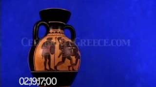 0706 Black figure amphora depicting armored warriors in hand-to-hand combat (replica)