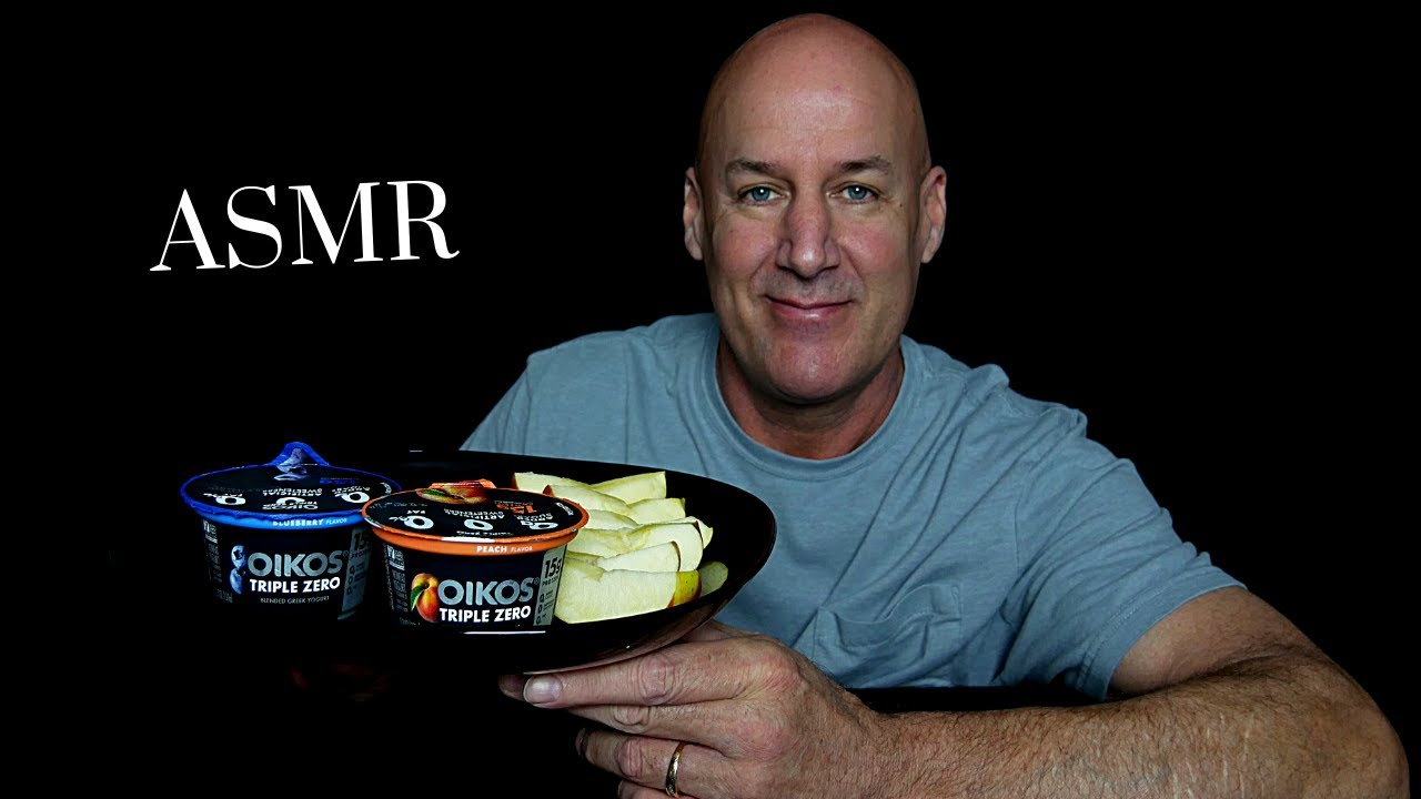 ASMR: OIKOS GREEK YOGURT WITH CRUNCHY APPLES AND ALMONDS (EATING SOUNDS) SOFT SPOKEN