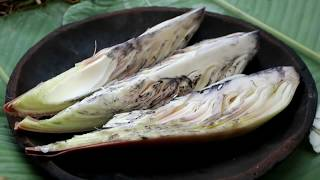 Survival skills: Find banana flower and fried on clay for food - Cook banana flower eating delicious