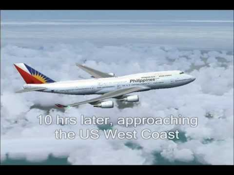 PAL102 Manila to Los Angeles - Full flight (FS2004)