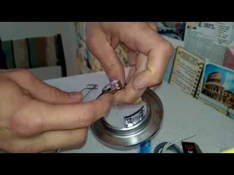 Как одеть пружину на точечный светильник