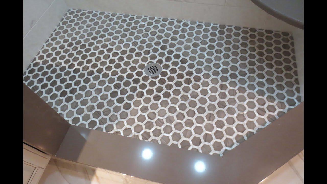 complete tile shower install part 6 installing the mosaic tile shower floor