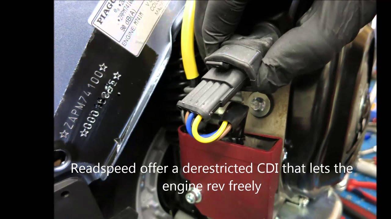 Vespa PX ignition derestriction: Readspeed Zeus CDI