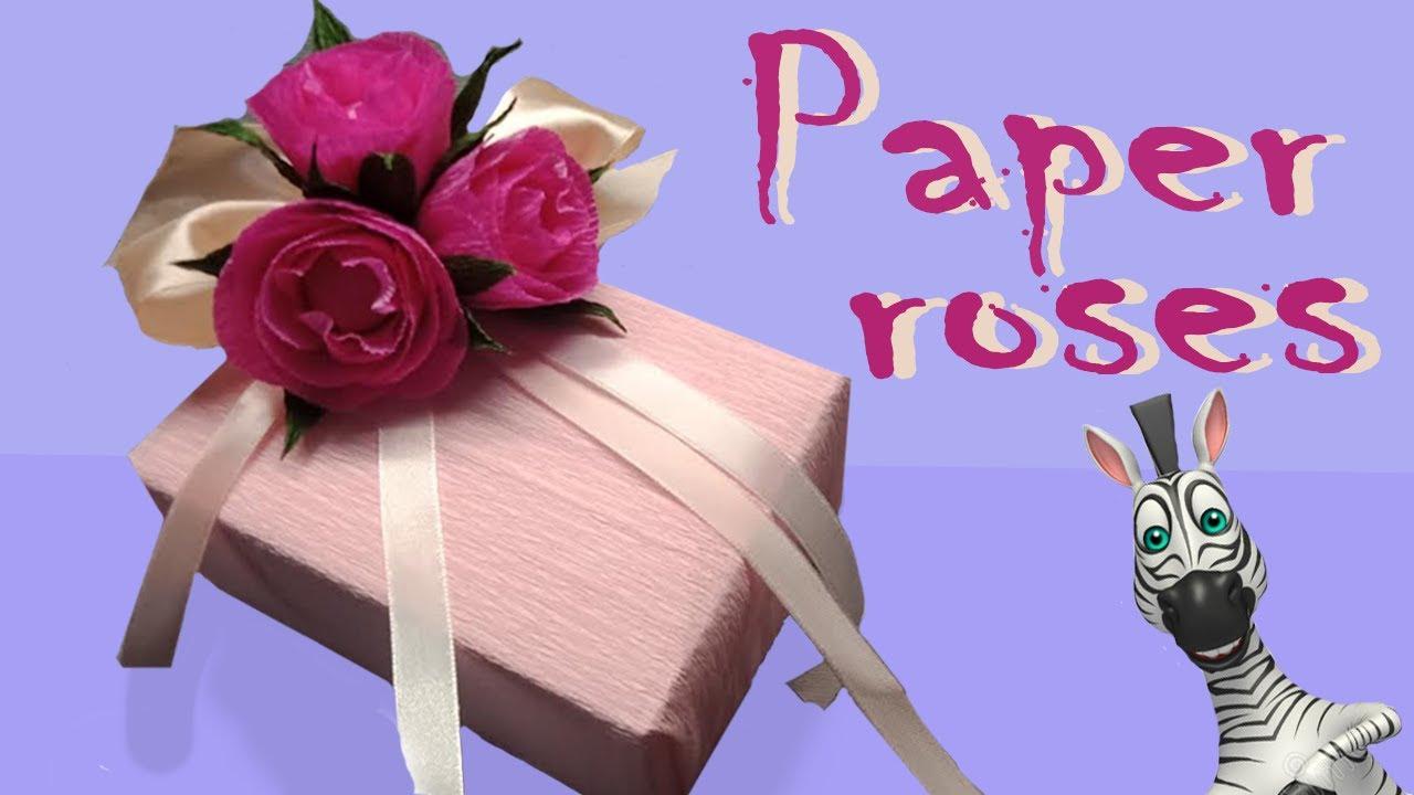 Бант на подарок. Роза своими руками. Декорирование цветами.