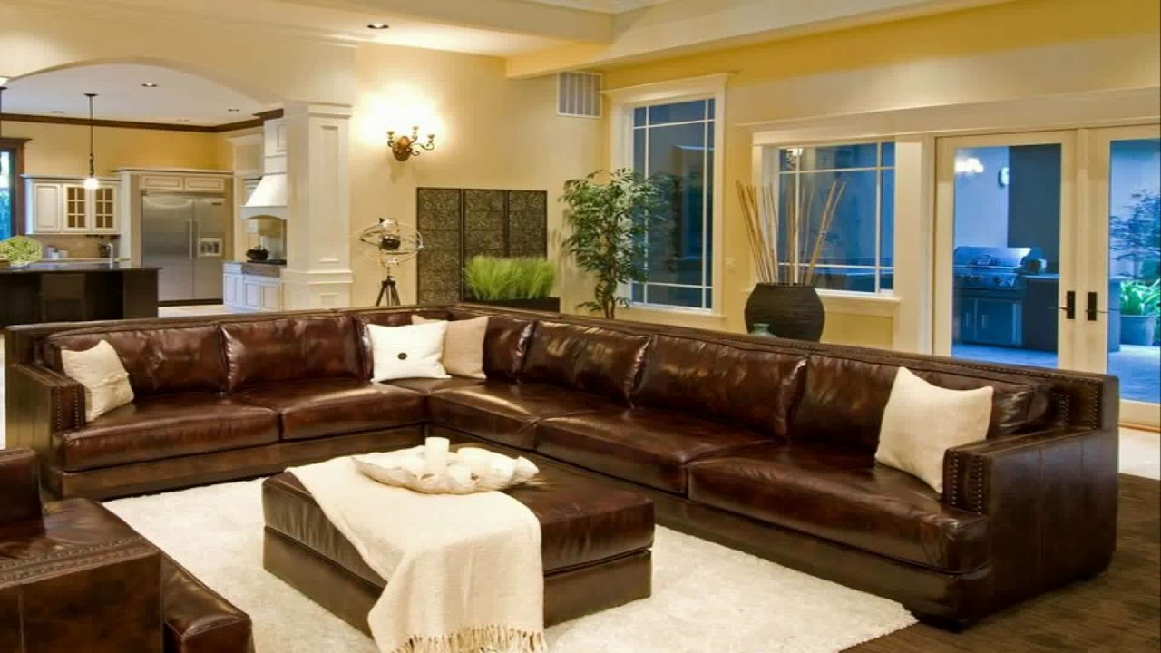 Living Room Decor With Brown Leather Couches Wallpaper Feature Wall Ideas Decorating Sectional Youtube