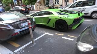 [4k] Verde Ithaca Lamborghini Aventador SV in Monte Carlo, Monaco driven by a GIRL April 2017