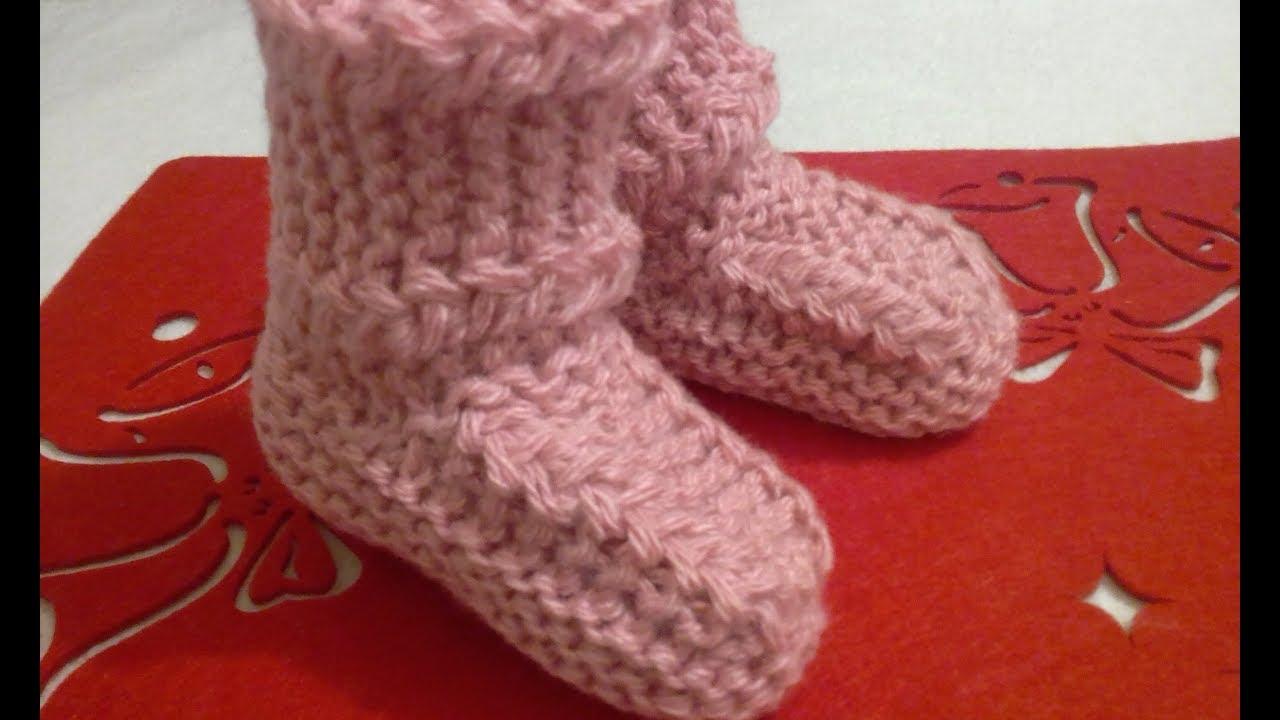 сапожки носочки детские на 2 спицах очень просто мастер класс