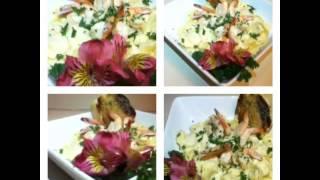 Garlic Shrimp Over Cheese Tortellini In Alfredo Sauce