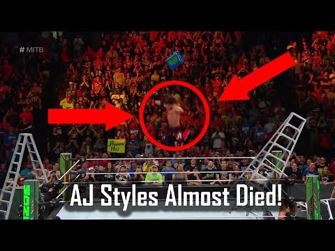 OMG: AJ Styles Almost Injured During Money in the Bank Ladder Match!