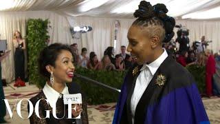 Lena Waithe on Her Rainbow Flag Cape | Met Gala 2018 With Liza Koshy | Vogue