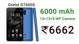 Gretel GT6000 India - 6000 mAh Battery Smartphone, Sale (Amazon, Ebay, Flipkart, AliExpress)