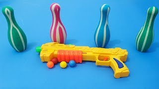 Mainan tembakan tembakan bola | Toy Guns Toys for Kids !! BOX OF TOYS with Learn Colors